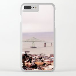 view from the Astoria Column, Astoria–Megler Bridge 2 Clear iPhone Case