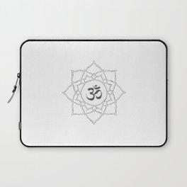 White Lotus Flower Om Symbol Drawing Laptop Sleeve