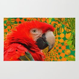 MODERN ART RED MACAW GREEN JUNGLE PATTERNED DESIGN Rug