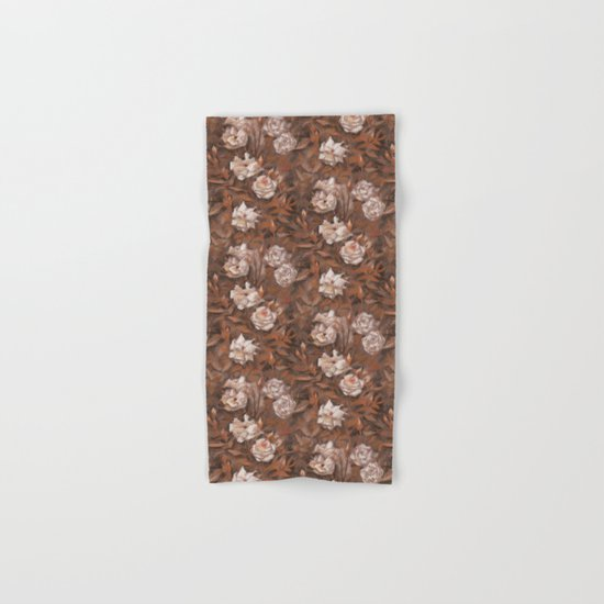 """White roses"" hand drawn vintage floral pattern in earth colors Hand & Bath Towel"
