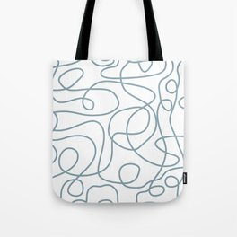 Dusty Blue Doodled Lines Pattern on White Tote Bag