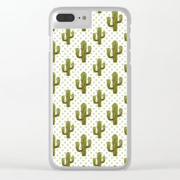 Mixed media cactus Clear iPhone Case