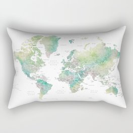 Watercolor world map in muted green and brown, with country capitals Rectangular Pillow