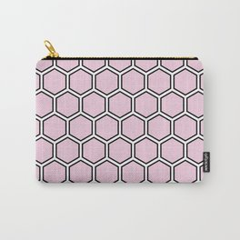 Light pink, white and black hexagonal pattern Carry-All Pouch