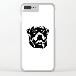 Rottweiler Dog black white Clear iPhone Case