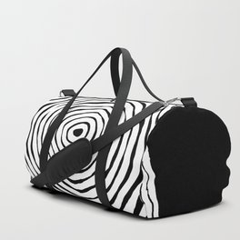 Black & White Minimalist Mid Century Abstract Ink Line Spiral Hypnotic Circle Duffle Bag