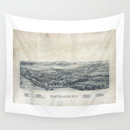 Aerial View of Cleveland, New York (1890) Wall Tapestry