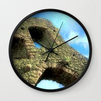 castle in the sky Wall Clocks featuring Castle by Brian Raggatt
