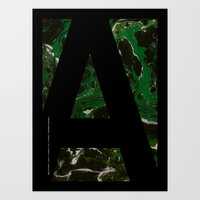Art Print featuring Marble Dream Letter A by Joshua Fuller