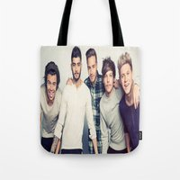 one direction Tote Bags featuring One direction by kikabarros