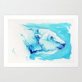 Polar Bear in Ink Wash Art Print
