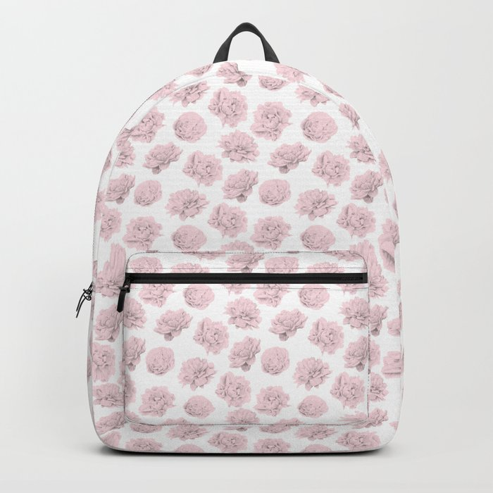 Simply Roses in Pink Flamingo Pink on White Backpack