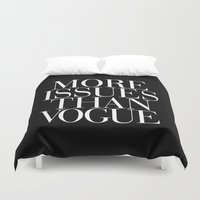 vogue Duvet Covers featuring More Issues than Vogue Typography by RexLambo
