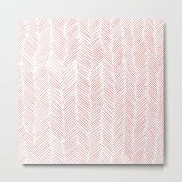 Living Coral Herringbone Metal Print