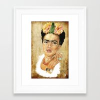 frida khalo Framed Art Prints featuring Frida Khalo. Pies, para que os quiero, si tengo alas para volar. by menchumenchu