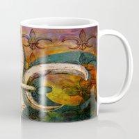 fleur de lis Mugs featuring Patricia's Fleur de Lis by Barbara Chichester Paintographer