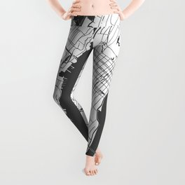New York City White on Gray Street Map Leggings