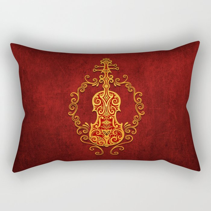 Aged Vintage Red and Yellow Tribal Violin Design Rectangular Pillow