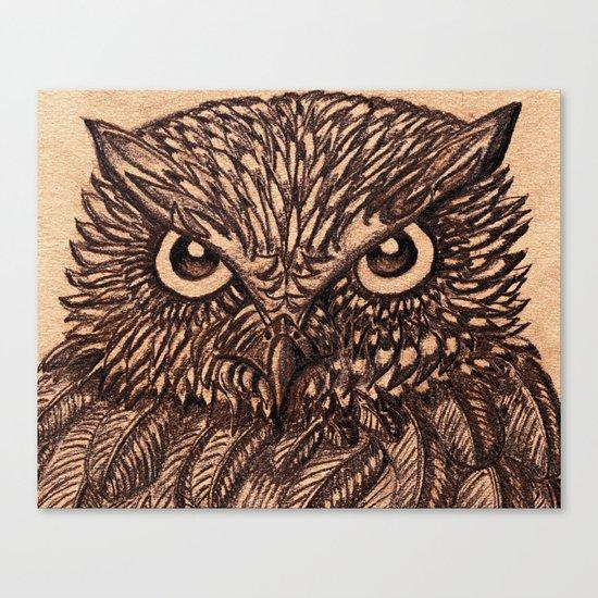 Fierce Brown Owl Canvas Print