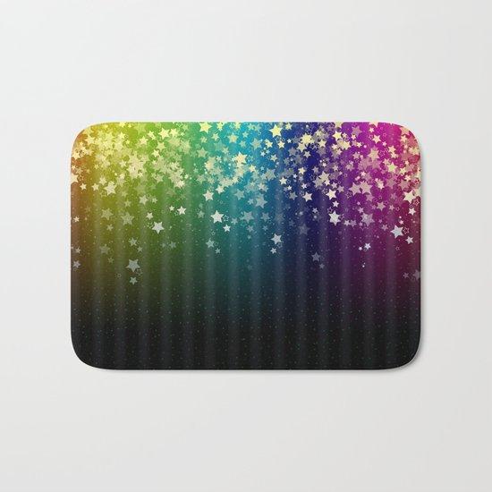 Colorful Space Rainbow Stars Bath Mat
