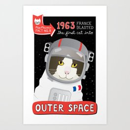 1963: France Blasted the First Cat into Outer Space Art Print