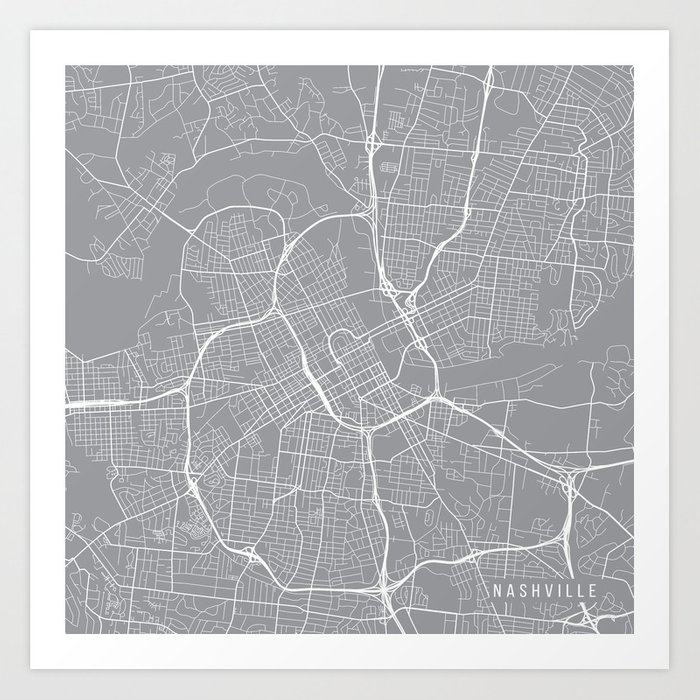 Nashville Map, Tennessee USA - Pewter Art Print