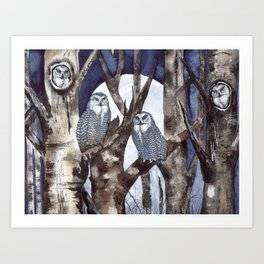 Night Owls by Maureen Donovan Art Print