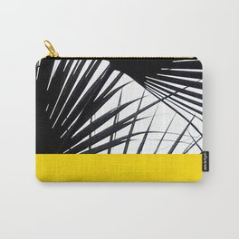 Black and White Tropical Palm Leaves on Sunny Yellow Carry-All Pouch
