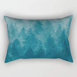 Misty Pine Forest Rectangular Pillow