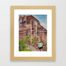 Salty Clapboard Beach House Framed Art Print