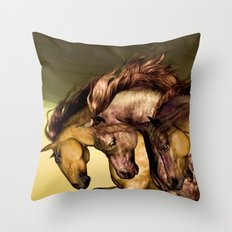 HORSES-Gunmetal Throw Pillow