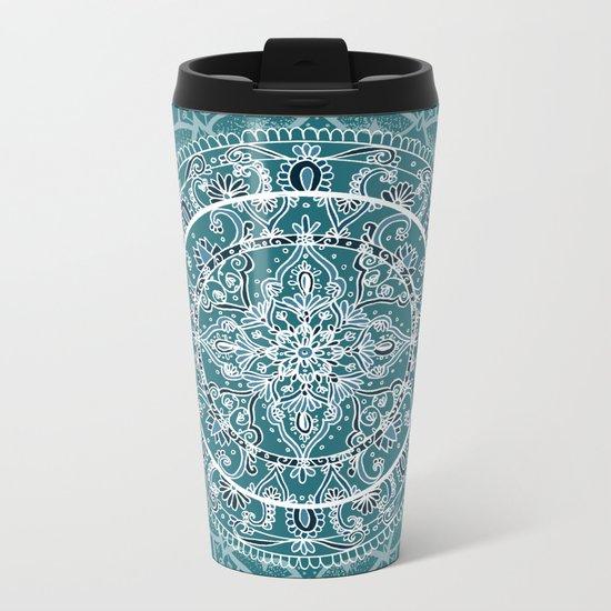Detailed Teal and Blue Mandala Pattern Metal Travel Mug