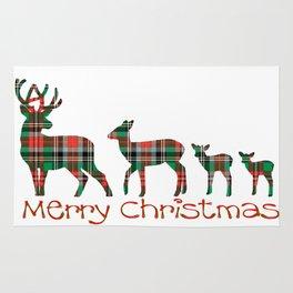 Merry Christmas plaid deer family Rug
