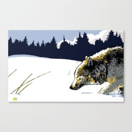 Art print: The northern wolf, walking in the snow Canvas Print
