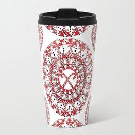 Candy Cane Holiday Mandala Textile Travel Mug