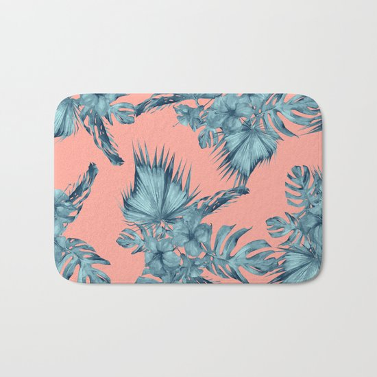 Dreaming Of Hawaii Teal Blue On Coral Pink Bath Mat By