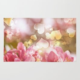 i heart Pink Crabapple Tree Blossoms Rug