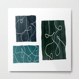 aqua watercolor trio Metal Print