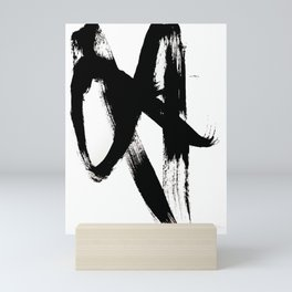 Brushstroke 2 - simple black and white Mini Art Print