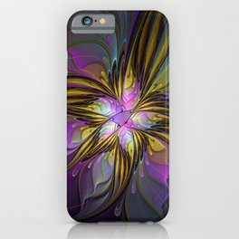 Abstract Art, Coloful Fantasy Flower Fractal iPhone Case