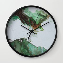 "Green Fluid Abstract Painting - Acrylic ""Third Times a Charm"" Wall Clock"