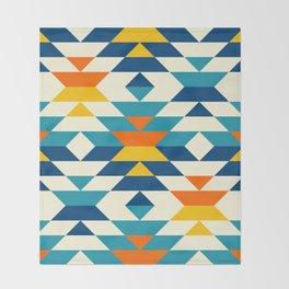 Bohemian large aztec diamonds blue pattern Throw Blanket