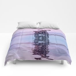 Where the Journey  begins Motorcycle at the Water Sunset Comforters