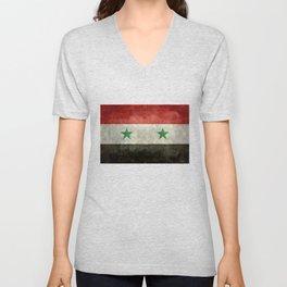 National flag of Syria - vintage Unisex V-Neck