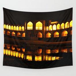 Persian Architecture Si-o-se-pol bridge at Night, Isfahan, Iran Wall Tapestry