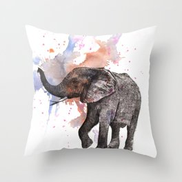 Dancing Elephant Painting Throw Pillow