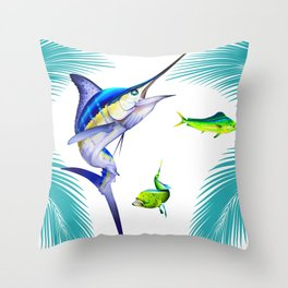 White Marlin Chasing Dolphin Fish Throw Pillow