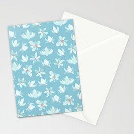 Elegant pastel blue white coral modern floral illustration Stationery Cards