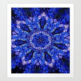 Blue Knight Starburst Mandala Art Print
