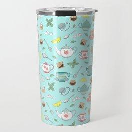 Vintage Pastel Teacups Tea Party Pattern Travel Mug